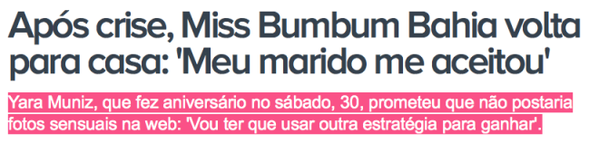 Miss Bumbum, Yara, Bahia, drama, final, feliz