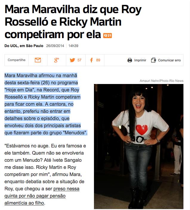 Mara Maravilha, Roy, Ricky Martin, Hoje em Dia, A Fazenda, pica na boca, pica na cara, pica onde quiser