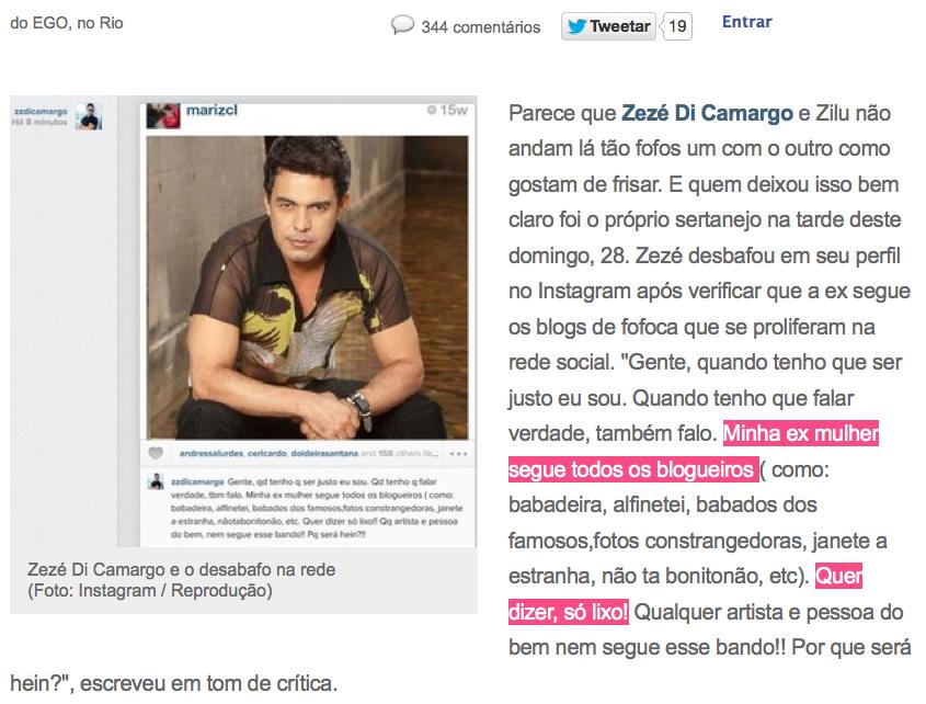zezé di camargo vs zilú. barraco nas redes sociais